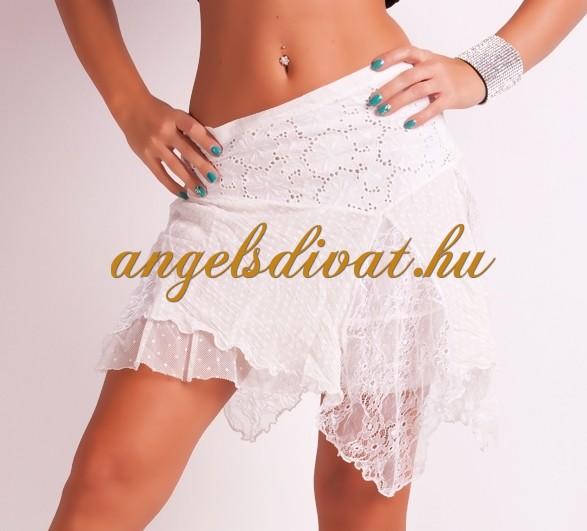 cdeeece1e6 FEHÉR CSIPKÉS MINISZOKNYA - ANGELS DIVAT NŐI RUHA WEBÁRUHÁZ WEBSHOP